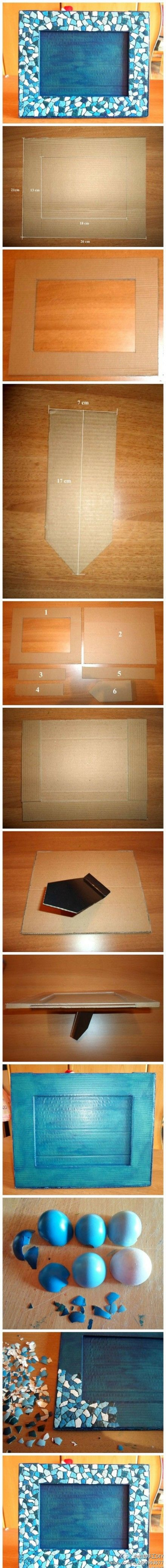 DIY Cardboard/Eggshell Mosaic Picture Frame