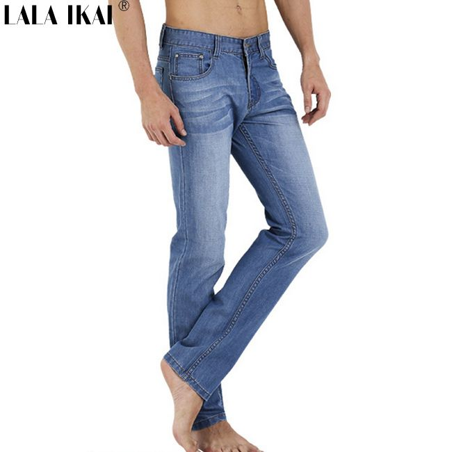 Summer Ultra Thin Jeans Men 100% Cotton Straight Long Denim Emaciation  Trousers Fashion Solid Pockets