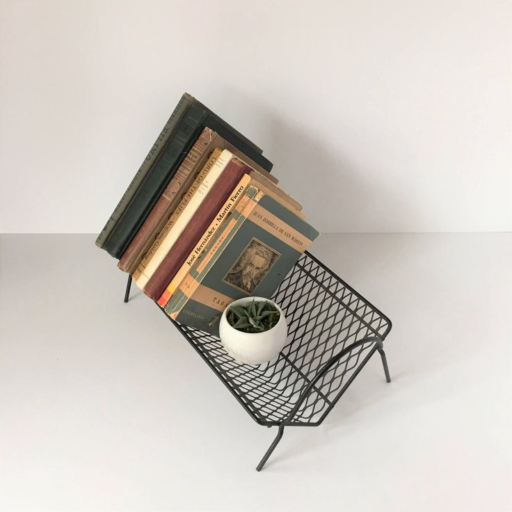 Metal Book Rack, Midcentury Book Stand, Black Wire Book Rack, Wire Mesh Book Rack, Desktop Book Storage, Atomic Book Rack, Library Storage by AlegriaCollection on Etsy