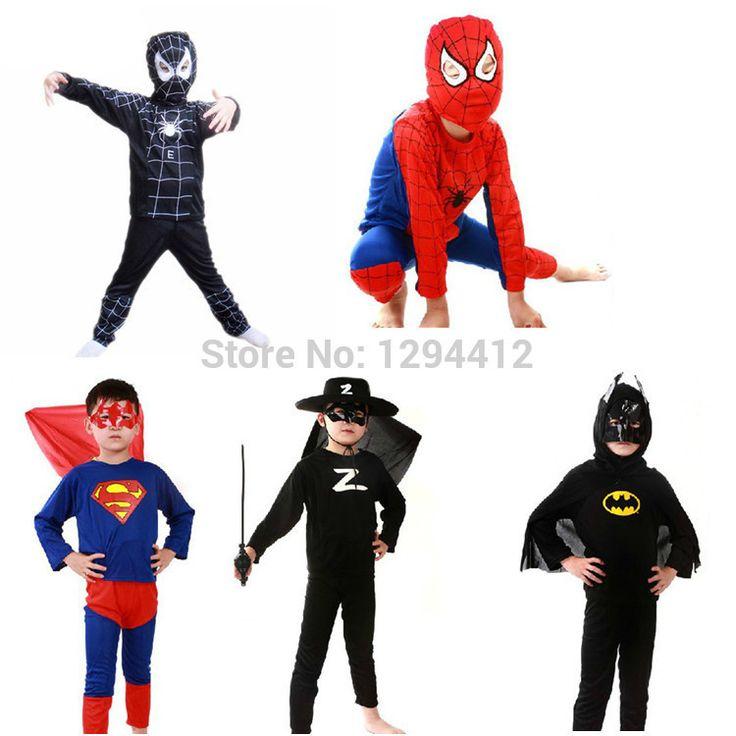レッドスパイダーマン衣装黒スパイダーマン バットマン スーパーマン ハロウィン衣装子供の スーパー ヒーロー ケープ アニメ コス プレ カーニバル衣装