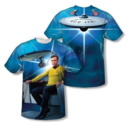 Star-Trek-Captain-Kirk-Ship-Chair-2-Sided-Sublimation-Print-Poly-Shirt-S-3XL