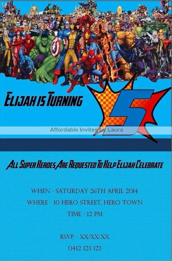 Superhero Invitation $12AUD emailed to you - you print and frame PAYPAL ACCEPTED!  Order here  www.facebook.com/readyforprint