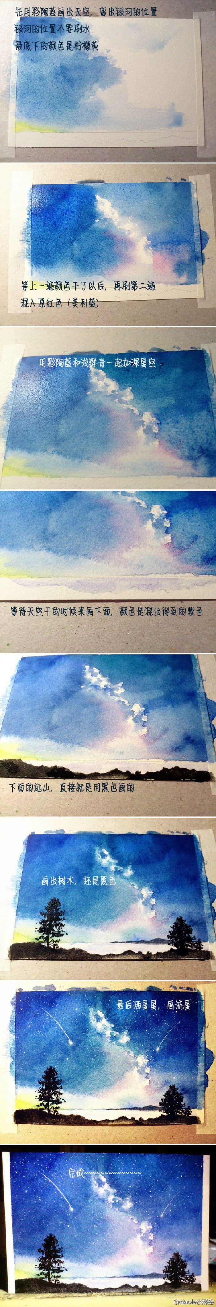 银河の光芒--天空 微博:xiaole水彩绘