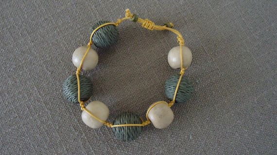 Beaded Bracelet Macrame Bracelet Handmade 100% by YellowByZoe