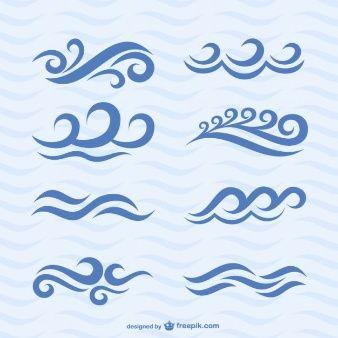 Conjunto de iconos de olas