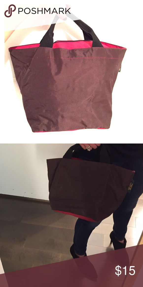 Herve Chapelier Paris Medium Bucket Bag Brown with red bottom and top. Nylon with zipper closure. Washable. Used. Herve Chapelier Paris Bags Totes