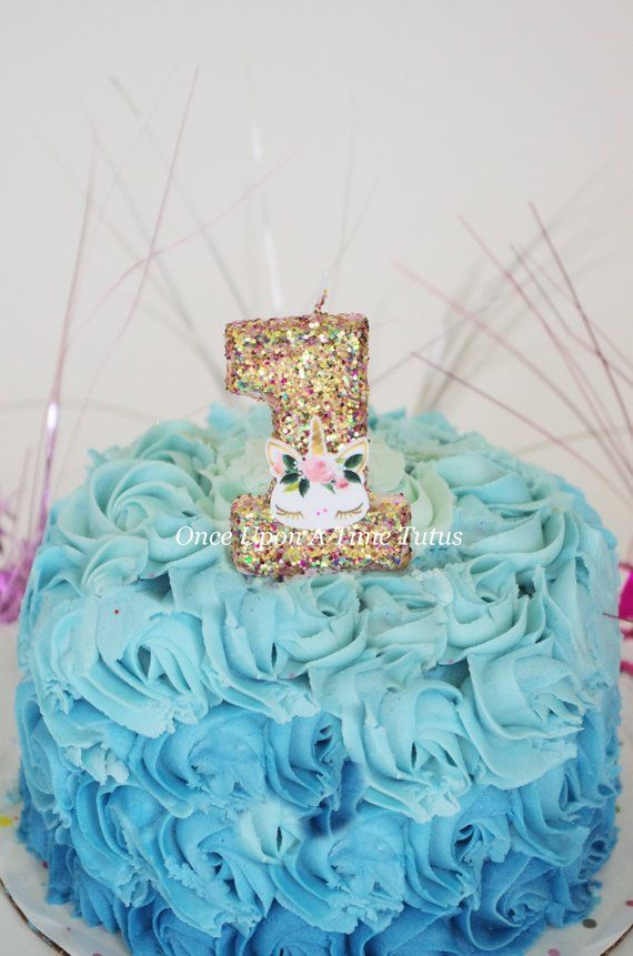 A Beautiful Gold And Pink Glitter Number Candle With Unicorn Is Perfect To Top Off