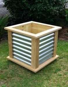 NZ Furniture : Corrugated Wood Frame Planter Box