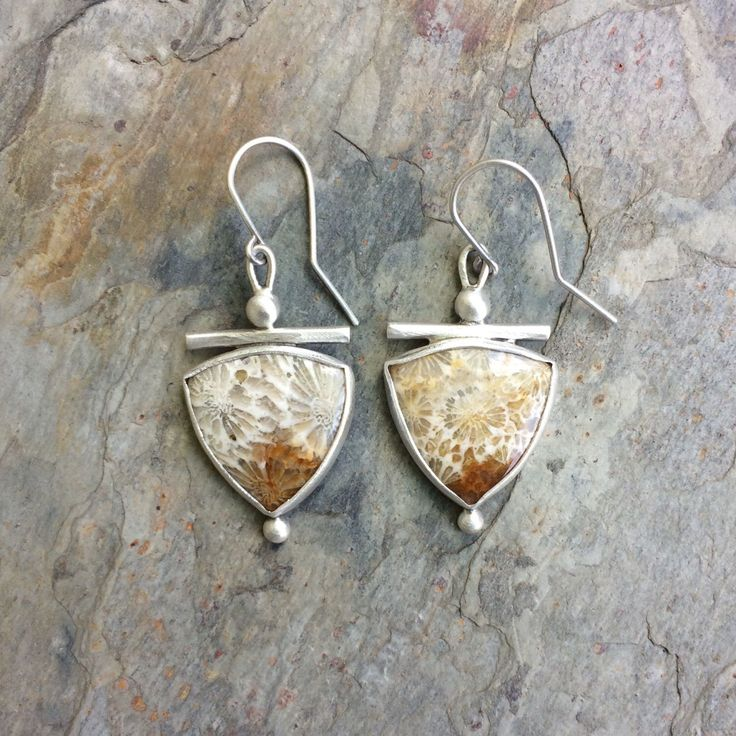 Coral Fossil Earrings in Silver for Pierced Ears. Handmade Jewelry for Charity. by coldfeetjewelry on Etsy https://www.etsy.com/listing/400584507/coral-fossil-earrings-in-silver-for