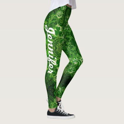 2397a6deb3380 St Patrick's Day Leggings YOUR NAME Green Clover - st. patricks day gifts irish  ireland