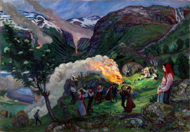 Nikolai Astrup: Hořící ohně za Svatojánské noci, olej na plátně, 1915-Foto: © Dag Fosse/KODE