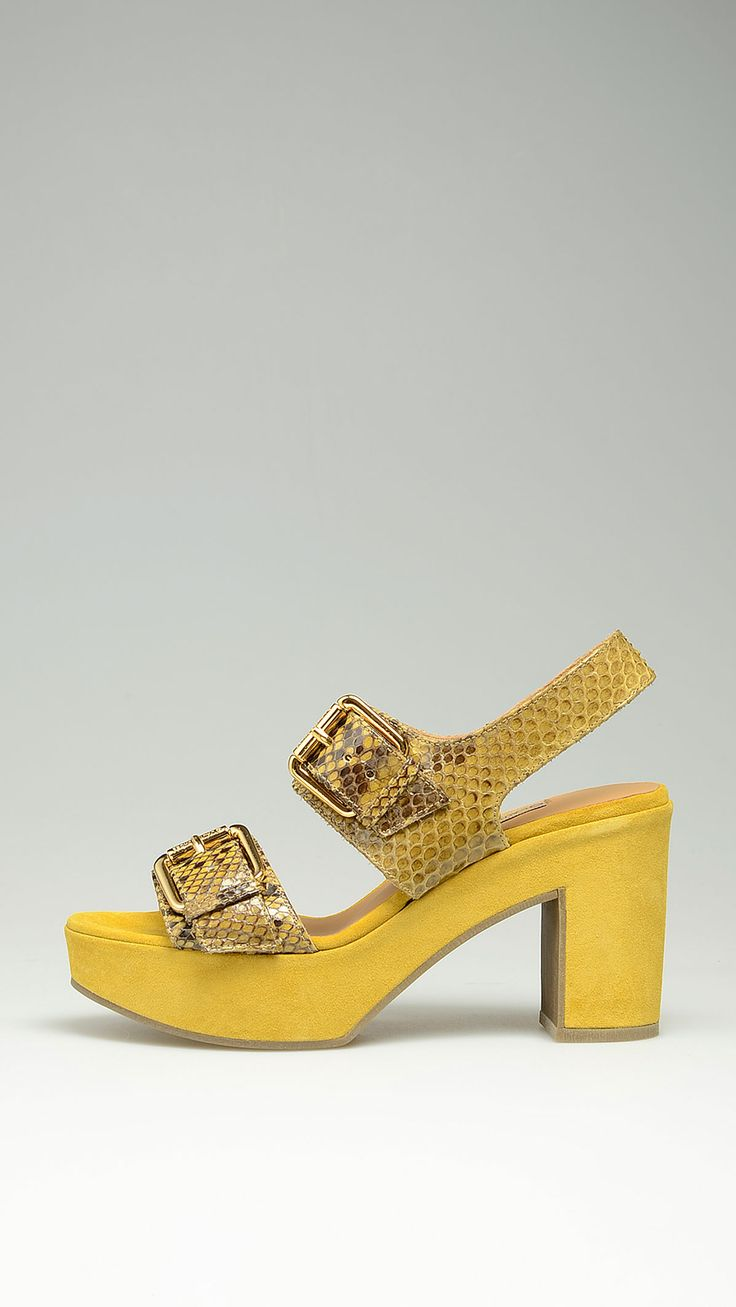 L'AUTRE CHOSE Calf leather slingback sandals featuring a python skin effect, two ankle straps with a side golden buckle fastening, a 4