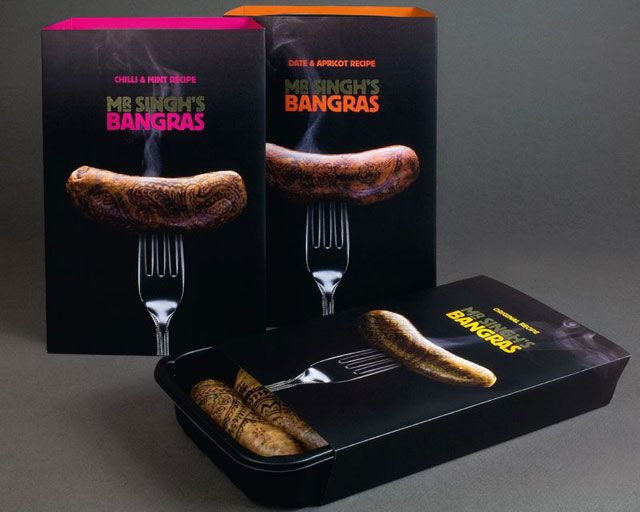 The colors and imagery are so enticing on this packaging for sausages | 40 Meaty Packaging and Label Designs