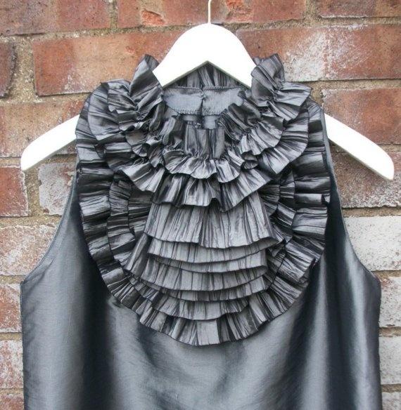 Ruffled Collar Dress in Silver taffeta, A line  dress, silver dress, formal occasion dress, bridesmaid