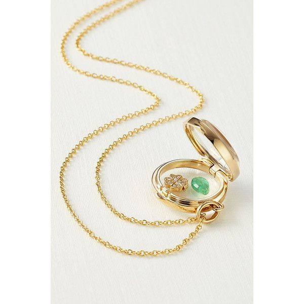 Loquet 14kt Round Locket with 18kt Charm, Diamonds and Emerald (202,830 INR) ❤ liked on Polyvore featuring jewelry, pendants, necklaces, locket charms, emerald jewelry, clover charm, charm jewelry and charm lockets