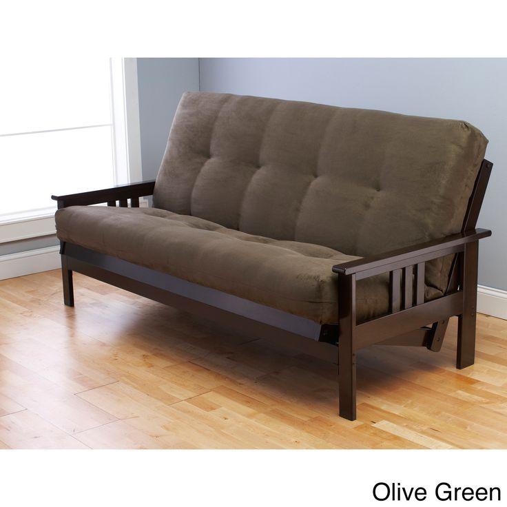 Somette Monterey Hardwood Suede Queen Size Futon Sofa Bed Olive Green