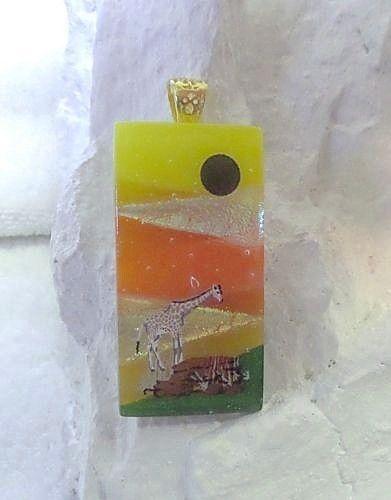 Dichroic Fused Glass Wearable Art Desert Giraffe US Artisan Lolas Glass Pendants #LolasGlassPendants #PendantforNecklace