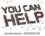 "Large group of people seen from above gathered together to form out the text ""You can Help"""