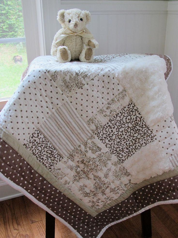 Handmade baby crib quilt polka dot shabby chic baby for Toile shabby chic