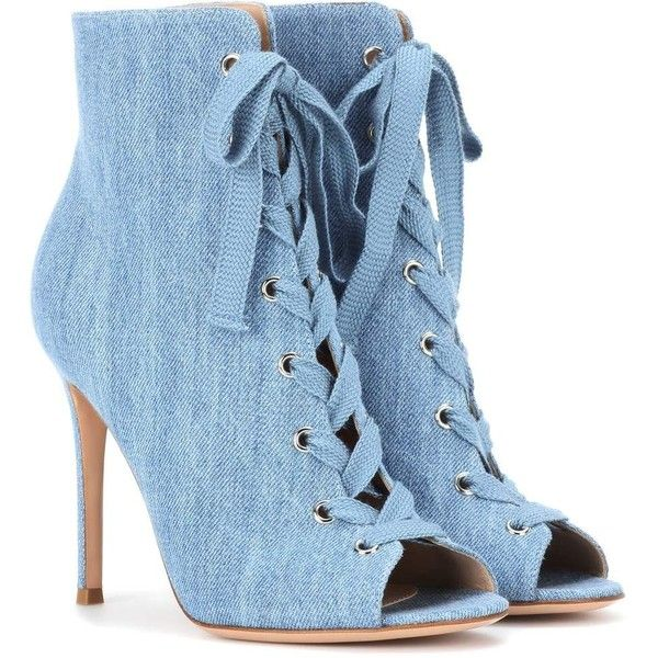 Gianvito Rossi Marie Denim Peep-Toe Ankle Boots found on Polyvore featuring shoes, boots, ankle booties, blue, denim booties, denim ankle boots, heeled boots, peep toe ankle booties and short heel boots