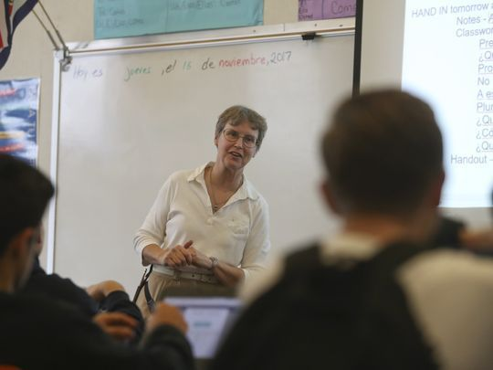 Central Valley substitute Spanish teacher Miriam Mustain. Shasta County confronts teacher shortage at http://www.redding.com/story/news/local/2017/11/16/shasta-county-confronts-teacher-shortage/840520001/