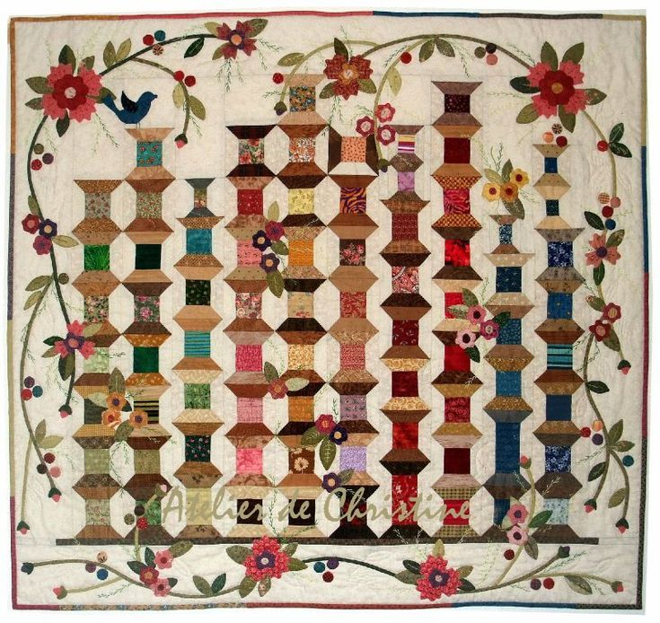 Martes 2 bobinas de novias-- This would be a great way to showcase favorite fabrics for a sewing room wall quilt.