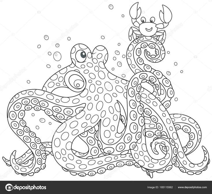 Descargar - Grande Pulpo Manchado Con Cangrejo Pequeño Divertido Una Ilustración Del — Ilustración de stock