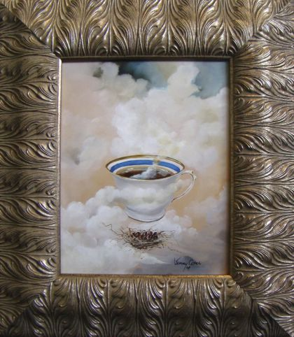 """Clouds in My Coffee. Oil on Italian Gessoed Board  """"'Clouds In  My Coffee' began as a sky-inspired piece as I painted a number of skies blending into marble tables or neutral earth..."""""""