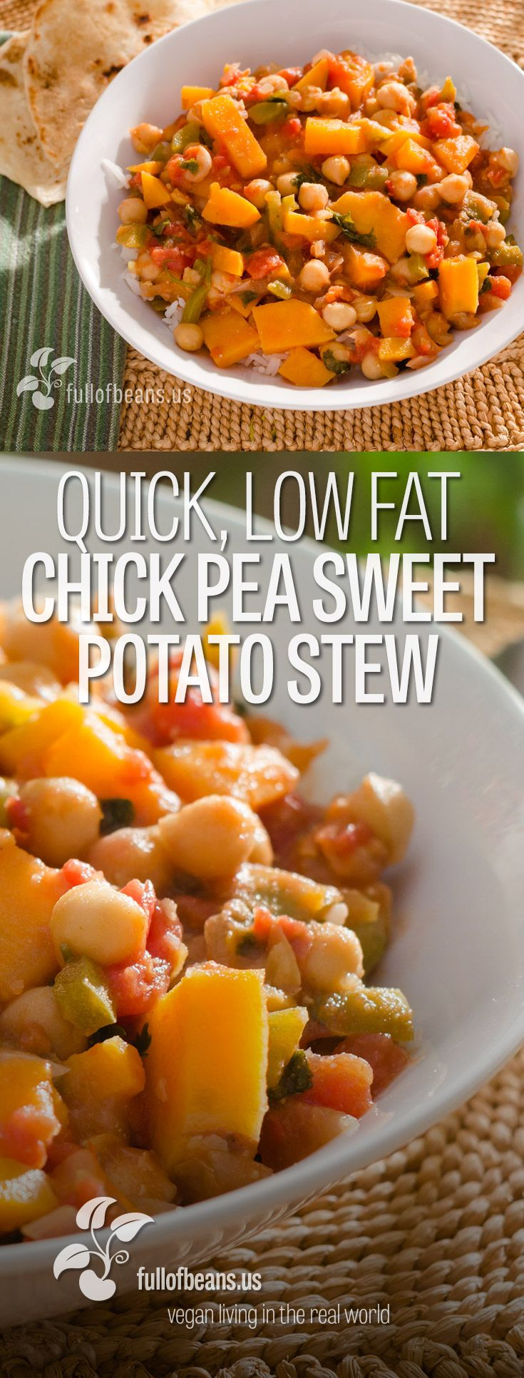 This vegan chickpea sweet potato stew is a quick, low fat and nutrient dense meal that is a great go to meal anytime! Recipe at fullofbeans.us!