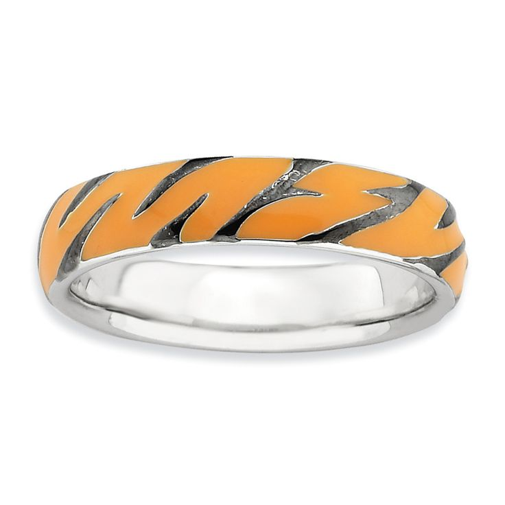 Sterling Silver Stackable Expressions Polished Enameled Animal Print Ring