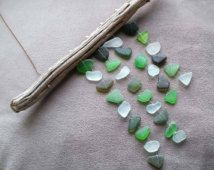"Genuine Sea Glass Mobile ""Ocean Colors"" ~ Handmade in Santa Barbara ~ Upcycled Windchime / Suncatcher ~ Green - Blue - Olive ~ Hearts"