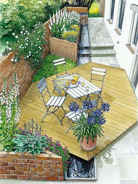 Side yard style- hexagonal deck with rill below and raised bed flowers.