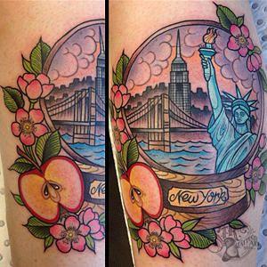 New york snow globe tattoo and link to Ebony Mellowship's portfolio