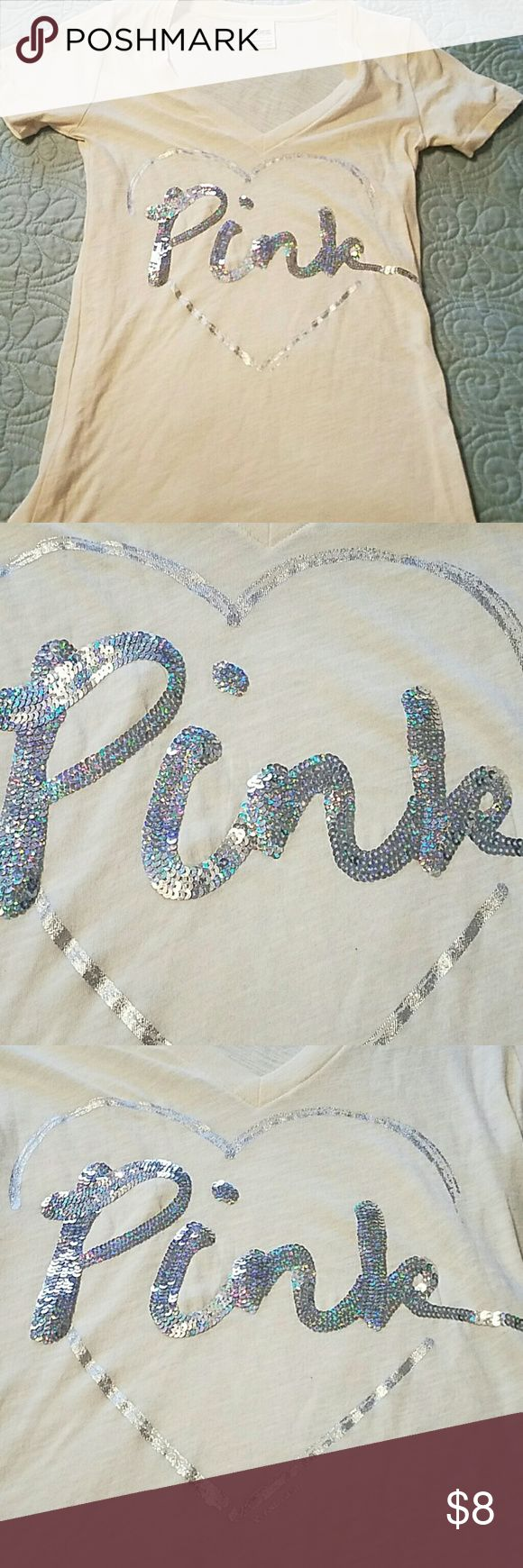 Cute VS Pink top Top is cream color with silver heart and sequins Victoria's Secret Tops Tees - Short Sleeve