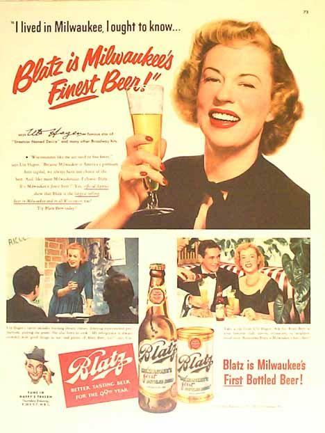 Bamboo Trading: Blatz 1950 Beer Ad - Uta Hagan - Star of ...
