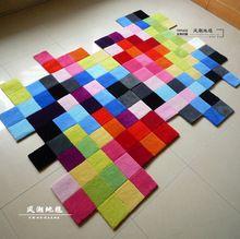 Proste kolor ręcznie szwy grube carpet nieregularne kostki osobowości salon sypialnia sofa stolik akrylowy carpet(China (Mainland))