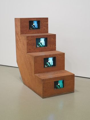 """Shigeko Kubota ~ """"Duchampiana: Nude Descending a Staircase"""" (1976) Super-8 film transferred to video and color-synthesized video (color, silent), monitors, and plywood. MoMA © 2013 Shigeko Kubota"""