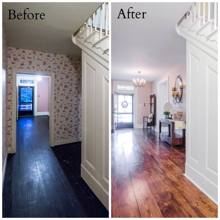 Our DIY Farmhouse Entryway Before/After (www.thepiggytoes.com) III Love the farm rustic wood floors!