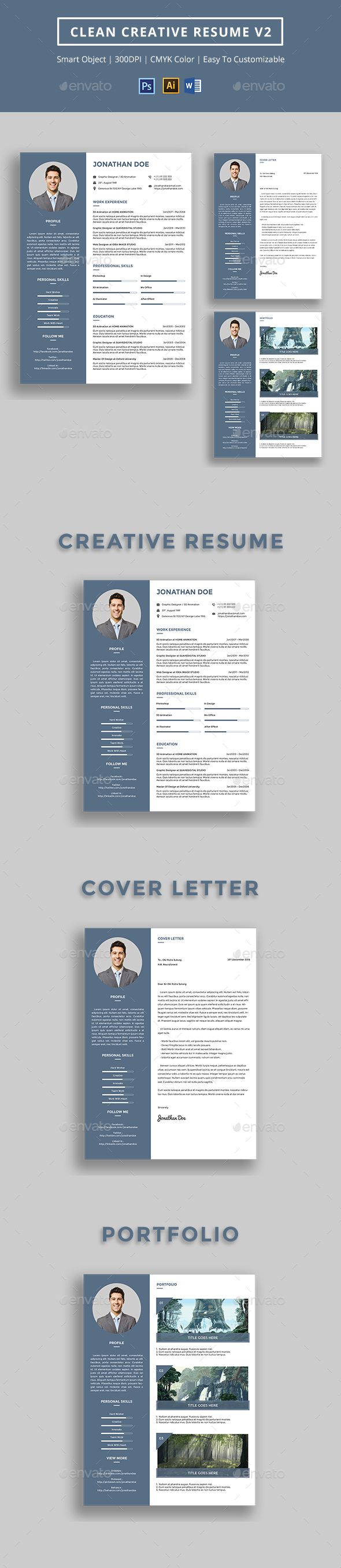 Clean Creative #Resume v2  - Resumes Stationery Download here: https://graphicriver.net/item/clean-creative-resume-v2-/16703232?ref=alena994