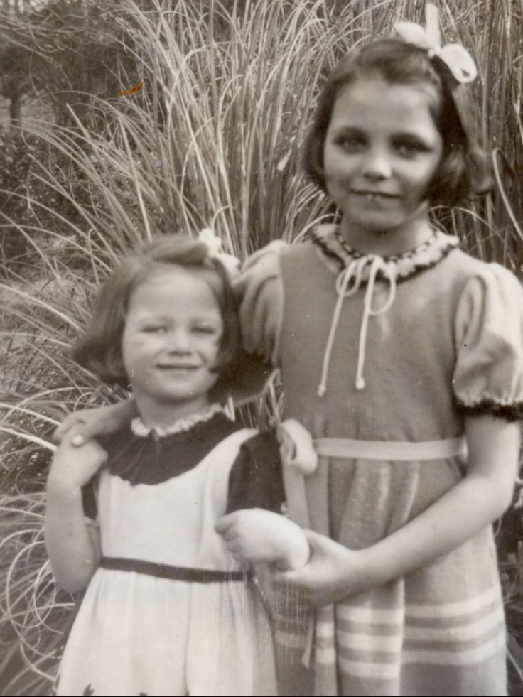 Joan Collin's and Jackie Collins childhood pictures.