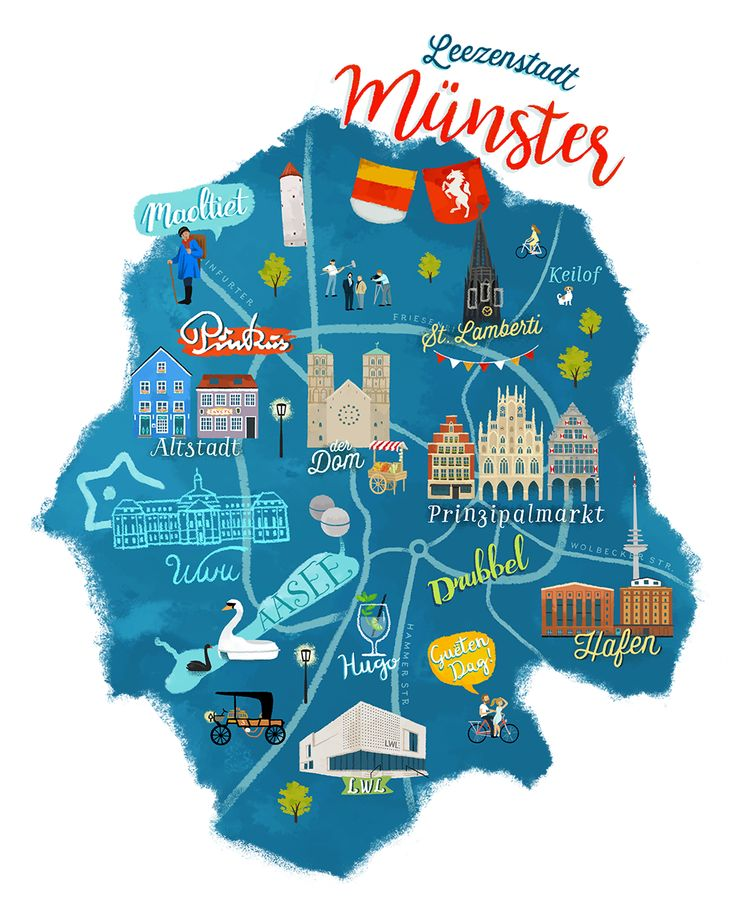 Fancy Illustrated Map of M nster in Germany by Frida Bandida
