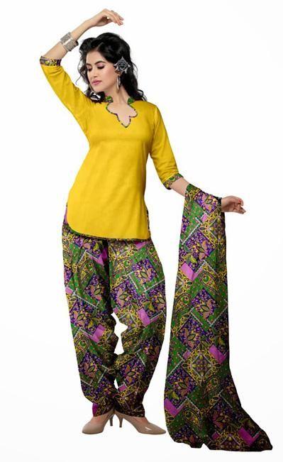 USD 29.49 Yellow Printed Cotton Punjabi Salwar Suit 28979