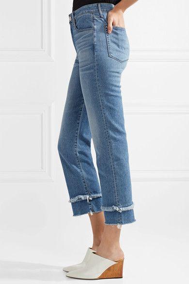 3x1 - W3 Petal Higher Ground Frayed High-rise Slim-leg Jeans - Mid denim