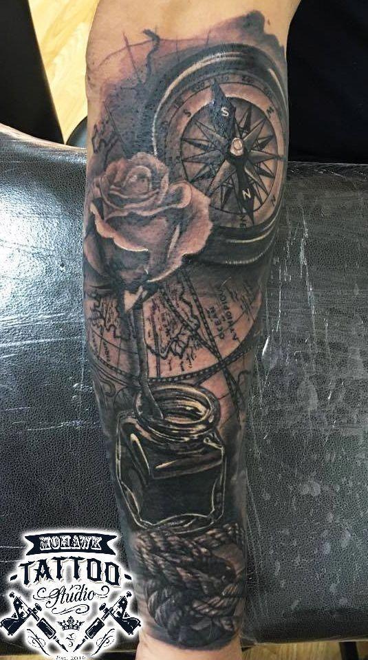 England Sleeve Tattoo Designs: Nautical Themed Half Sleeve Tattoo :) What Themes Do You