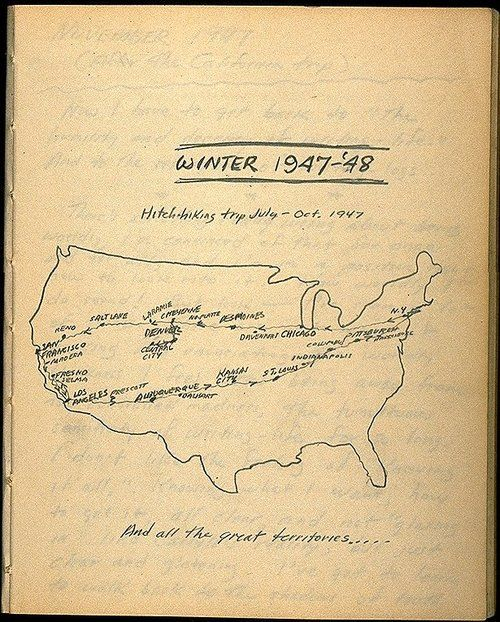 Jack Kerouac's hand-drawn cross-country road trip map from 'On the Road' #mapteam /// The Best Books on Writing and Creativity of 2013   Brain Pickings