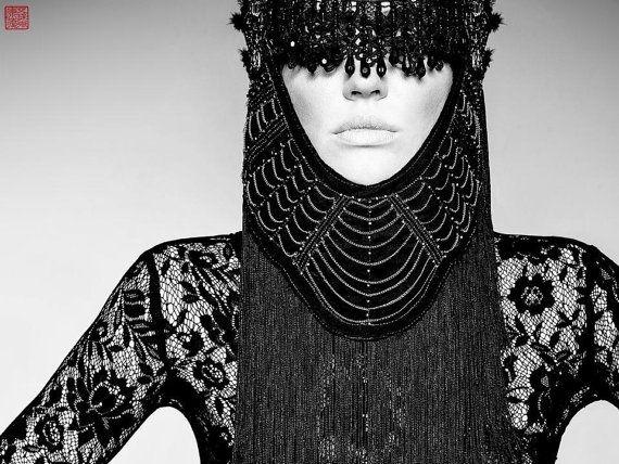 MADE TO ORDER  Luscious Eye mask Vampire Burning Man Black geisha fantasy Gaga costume headdress furry headpiece wig cosplay steampunk on Etsy, $330.00