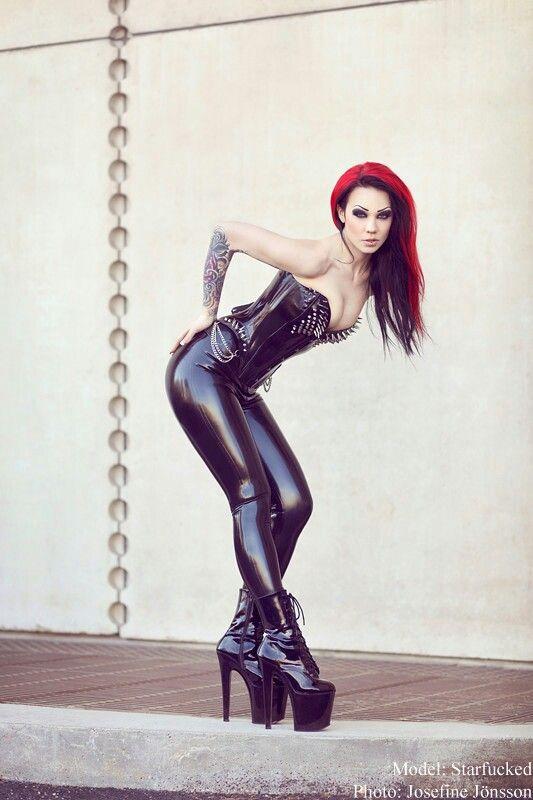 Starfucked black latex pants corset boots