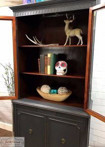 Vintage China Cabinet Painted Charcoal Gray