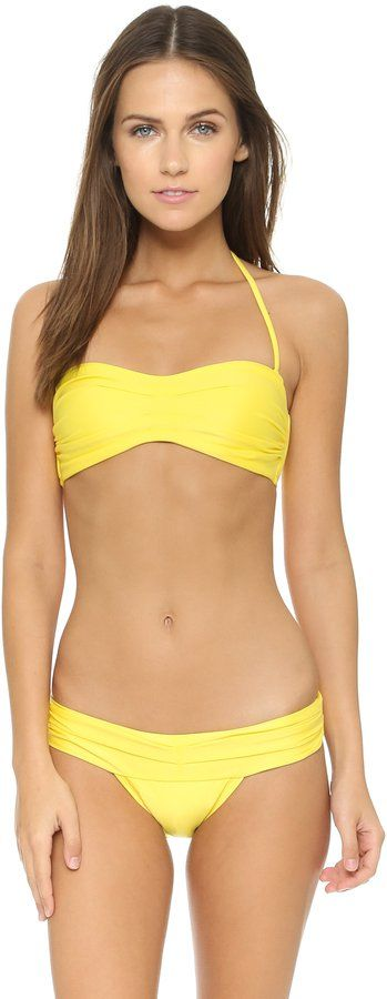 Pin for Later: Olivia Palermo's Swimsuit Is Sexy and Stylish — and You'll Want It Immediately  Vix Paula Hermanny Yellow Pleats Bandeau Bikini Top ($114)