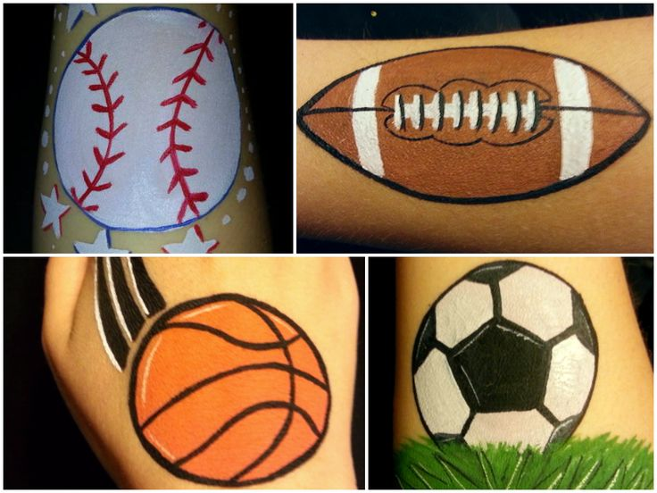 Sports balls - Baseball, football, basketball, soccer ball. Easy face paint / simple painting ideas by Glitter Goose.